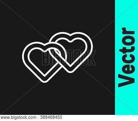 White Line Two Linked Hearts Icon Isolated On Black Background. Romantic Symbol Linked, Join, Passio