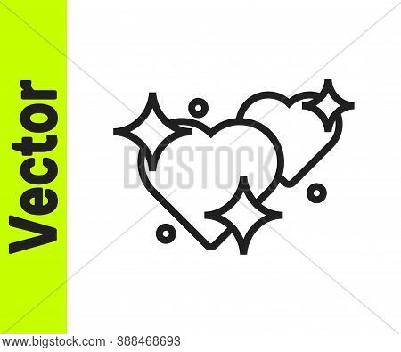 Black Line Two Linked Hearts Icon Isolated On White Background. Romantic Symbol Linked, Join, Passio