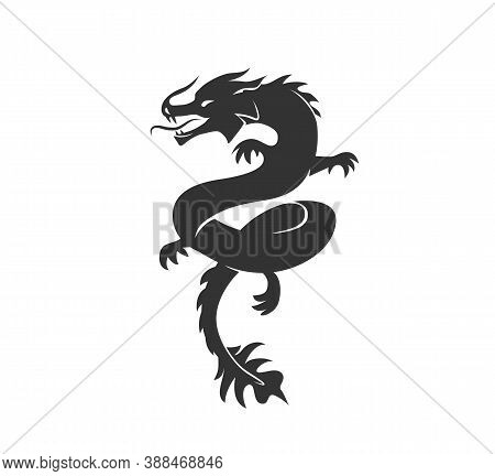 Dragon Silhouette Vector Illustration. Black And White Asian Chinese Traditional Animal Logo. Isolat