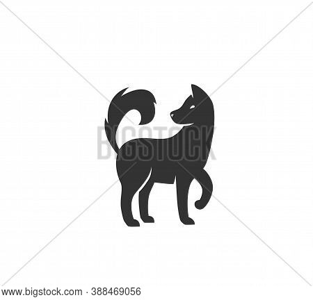 Dog Silhouette Vector Illustration. Black And White Puppy Logo In Simple Flat Style. Isolated On Whi