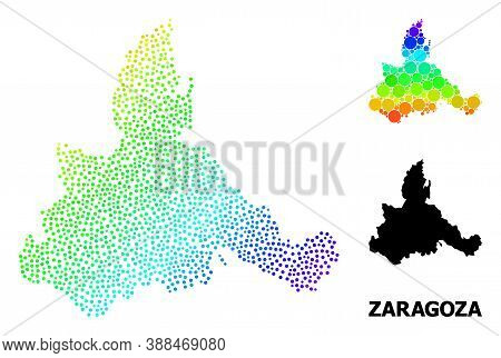 Pixelated Spectral, And Monochrome Map Of Zaragoza Province, And Black Name. Vector Model Is Created