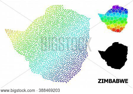 Pixel Bright Spectral, And Monochrome Map Of Zimbabwe, And Black Name. Vector Structure Is Created F
