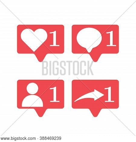 Set Of Icons For Social Media. Like, Message, Friend Request, Repost. Flat Vector Illustration.