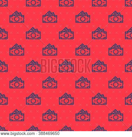 Blue Line Stacks Paper Money Cash Icon Isolated Seamless Pattern On Red Background. Money Banknotes