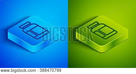 Isometric Line Sports Nutrition Bodybuilding Proteine Power Drink And Food Icon Isolated On Blue And