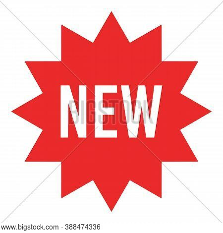 Red Starburst Sticker With New Sign - Circle Sun And Star Burst Badges And Labels With Text About Ne