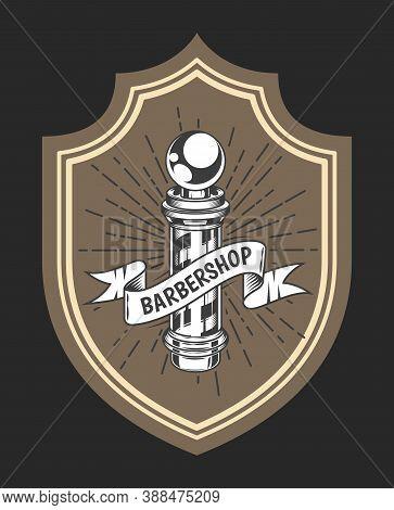 Logotype For Barbershop In The Form Of Badge Or Label. Barber Shop Logo Flat Vector Design Emblem Wi