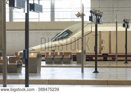 Zaragoza, Spain - September 29, 2020: A Train Ave, With Origin Madrid, Arrives At Zaragoza Station I