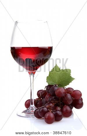 glass of wine and grapes, isolated on white poster