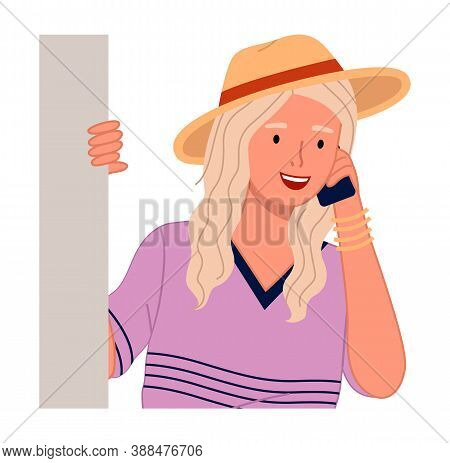 Young Woman With Phone Peeping From Behind The Wall Vector Illustration On A White Background. Happy