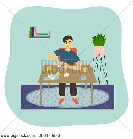 The Boy Plays Puzzle Games At Home At The Table, Folds The Cube And Puts Pieces Of Puzzles. Vector I