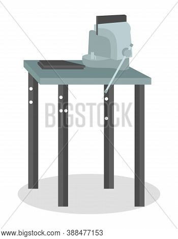 Mechanical Vise On A Special Metal Table Isolated On White. Metal Clamps Tool For Turner. Vice For M