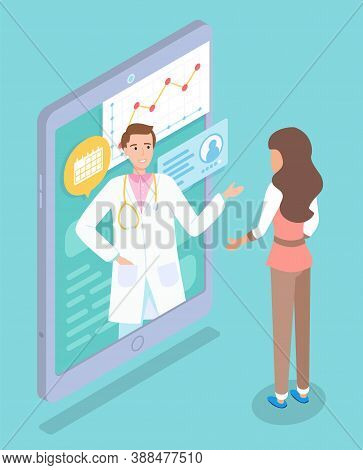 Online Medical Consultation With Doctor Concept Vector Illustration, Medical Application On The Phon