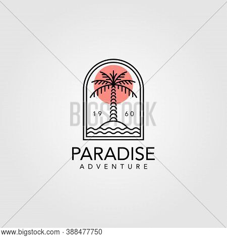 Palm Tree Vintage Logo Vector Illustration Design, Line Art Palm Tree Logo Design