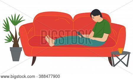 A Man Lying On The Sofa, Holding A Smartphone. Relaxing At Home Concept Vector Flat Design. Cheerful