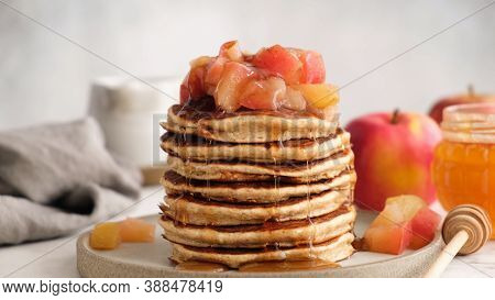 Apple Cinnamon Pancakes, Autumn Comfort Food. Tasty Breakfast Oat Pancakes With Caramelized Apples