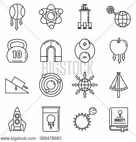 Gravity Force Icons Set. Outline Set Of Gravity Force Vector Icons For Web Design Isolated On White