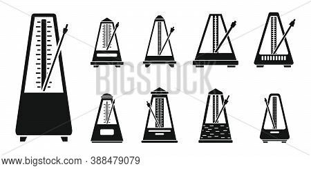 Classic Metronome Icons Set. Simple Set Of Classic Metronome Vector Icons For Web Design On White Ba