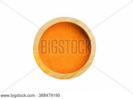 Turmeric Powder  Isolated In Wood Bowl ,turmeric Is Herb,turmeric Vitamin C,vitamin C For Protect Vi