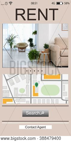 Property Search Agency Application. Rental Information: Photo Of Living Room And Map With Address Po