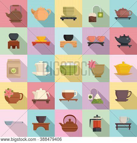 Tea Ceremony Icons Set. Flat Set Of Tea Ceremony Vector Icons For Web Design