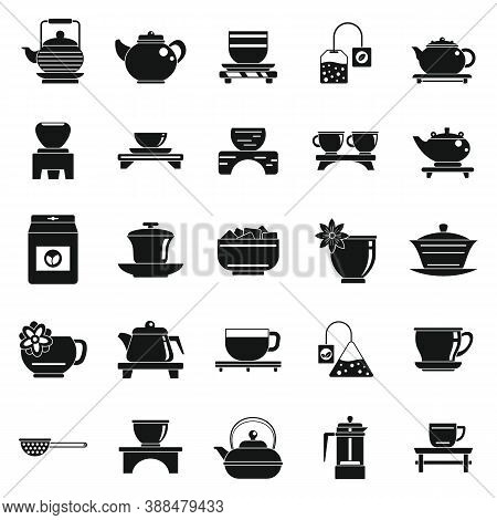 Chinese Tea Ceremony Icons Set. Simple Set Of Chinese Tea Ceremony Vector Icons For Web Design On Wh