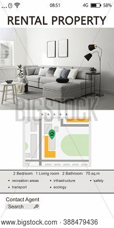 Property Search Agency Application. Rental Information: Photo Of Living Room, Map With Address Point