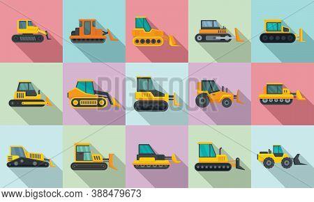 Bulldozer Icons Set. Flat Set Of Bulldozer Vector Icons For Web Design