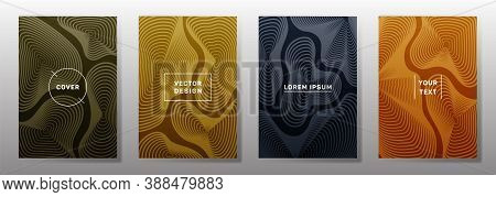Dynamic Cover Templates Set. Fluid Curve Shapes Geometric Lines Patterns. Modern Backgrounds For Not