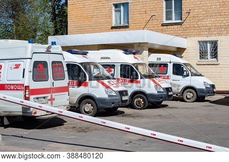 Moscow, Russia - May 11, 2020: Four Ambulances In The Parking Lot Near The Intensive Care Station. W