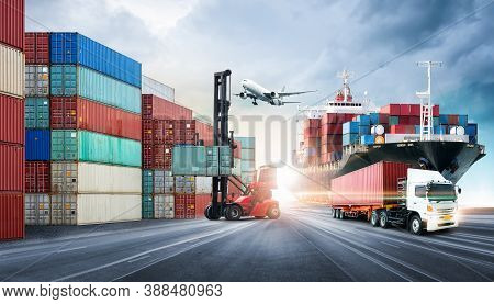 Business Logistics And Transportation Concept Of Containers Cargo Freight Ship And Cargo Plane In Sh