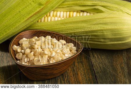 Tender Cob With Threshed Corn In The Bowl - Zea Mays