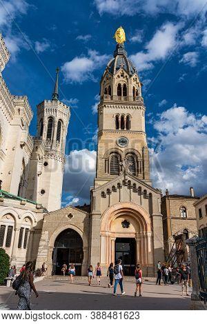Lyon, France - Sep 27, 2020: The Basilica Of Notre-dame Of Fourviere, La Basilique Notre Dame De Fou