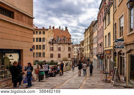 Lyon, France - Sep 28, 2020: Croix-rousse District At Lyon City, France In Europe