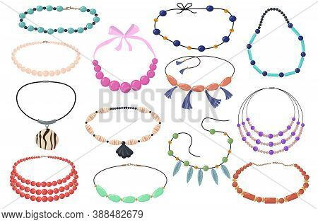 Beautiful Necklaces With Beads Flat Set For Web Design. Cartoon Chain And Collar Necklet With Gems O