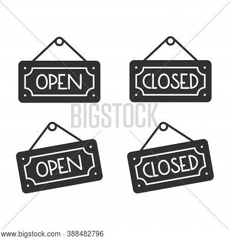 Open And Closed Sign Vector Icon. Store Board Door Notice Symbol.