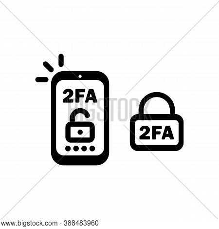 2fa Line Icon In Black. Two Factor Authentication Icon. Security. Vector On Isolated White Backgroun