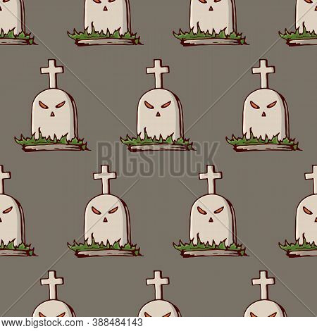 Seamless Pattern With Cartoon Tombstones With Eyes And Crosses. Hand Drawn Doodle Cartoon Elements O