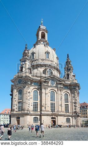 Dresden, Germany - July 26, 2019: Frauenkirche (church Of Our Lady) - Lutheran Church In Dresden Cit