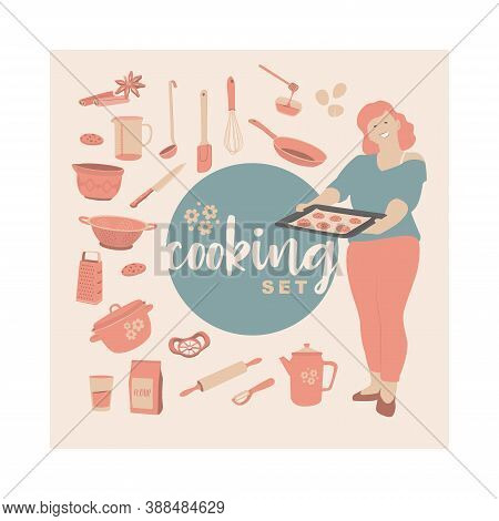 Recipe Card. Cookbook Blank. Vector Set Of Kitchen Tools For Cookbook Or Stickers. Simple Retro Styl