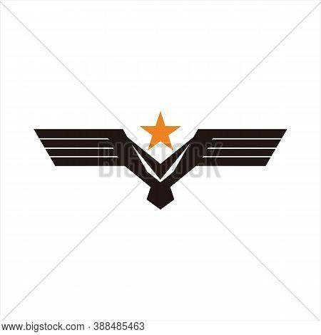 Eagle Icon, Eagle Logo Icon Isolated Black On White Background, Eagle Wing Icon, Image Eagle Vector