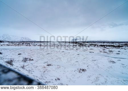 View Over The Loften Iceland Of Ice And Snow Over Thingvellir National Park In Iceland. Landscape Al