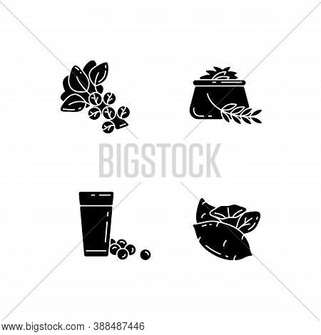 Health Vegetables Types Black Glyph Icons Set On White Space. Eco Brussels Sprouts. Organic Soy Milk