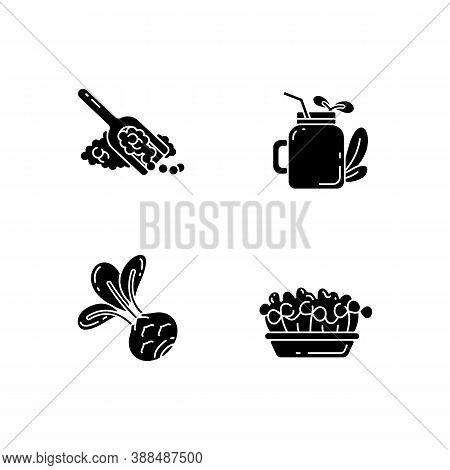 Greens Variety Black Glyph Icons Set On White Space. Fruity Smoothie Types. Microgreens Garden Ideas