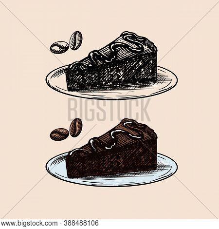 Liqueur Dessert. Chocolate Cake. Engraved Hand Drawn Vintage Sketch. Woodcut Style. Vector Illustrat