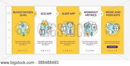 Smartwatch Functions Onboarding Vector Template. Blood Oxygen Level. Sleep App. Music Player. Respon