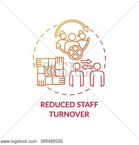 Reduced Staff Turnover Concept Icon. Gender Diversity Policy Benefits. Cooperetion Organizing. Crew