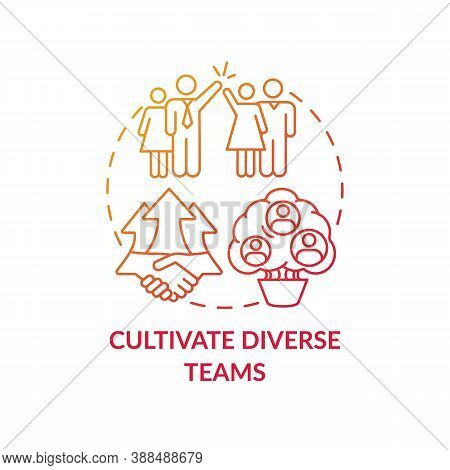 Cultivate Diverse Teams Concept Icon. Gender Diversity Implementation Tutorials. Best Skills For Org