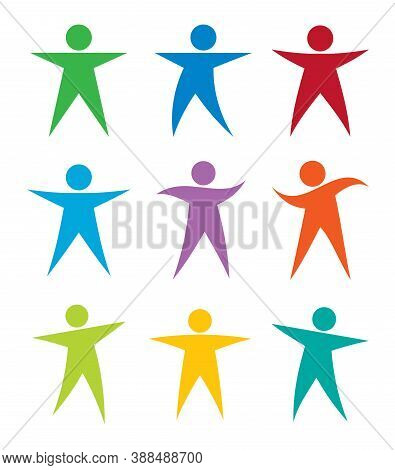 Human Figure Pose Icon Collection. Different Body Poses Vector Set. Dancing And Jumping Person Avata