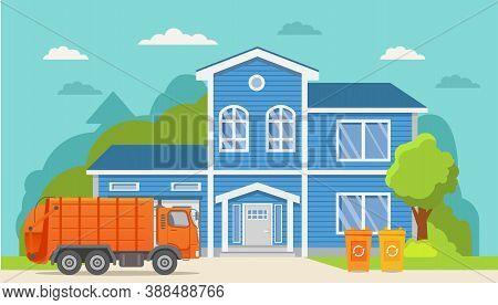 Garbage Truck.urban Sanitary Loader Truck. Townhouse Building.